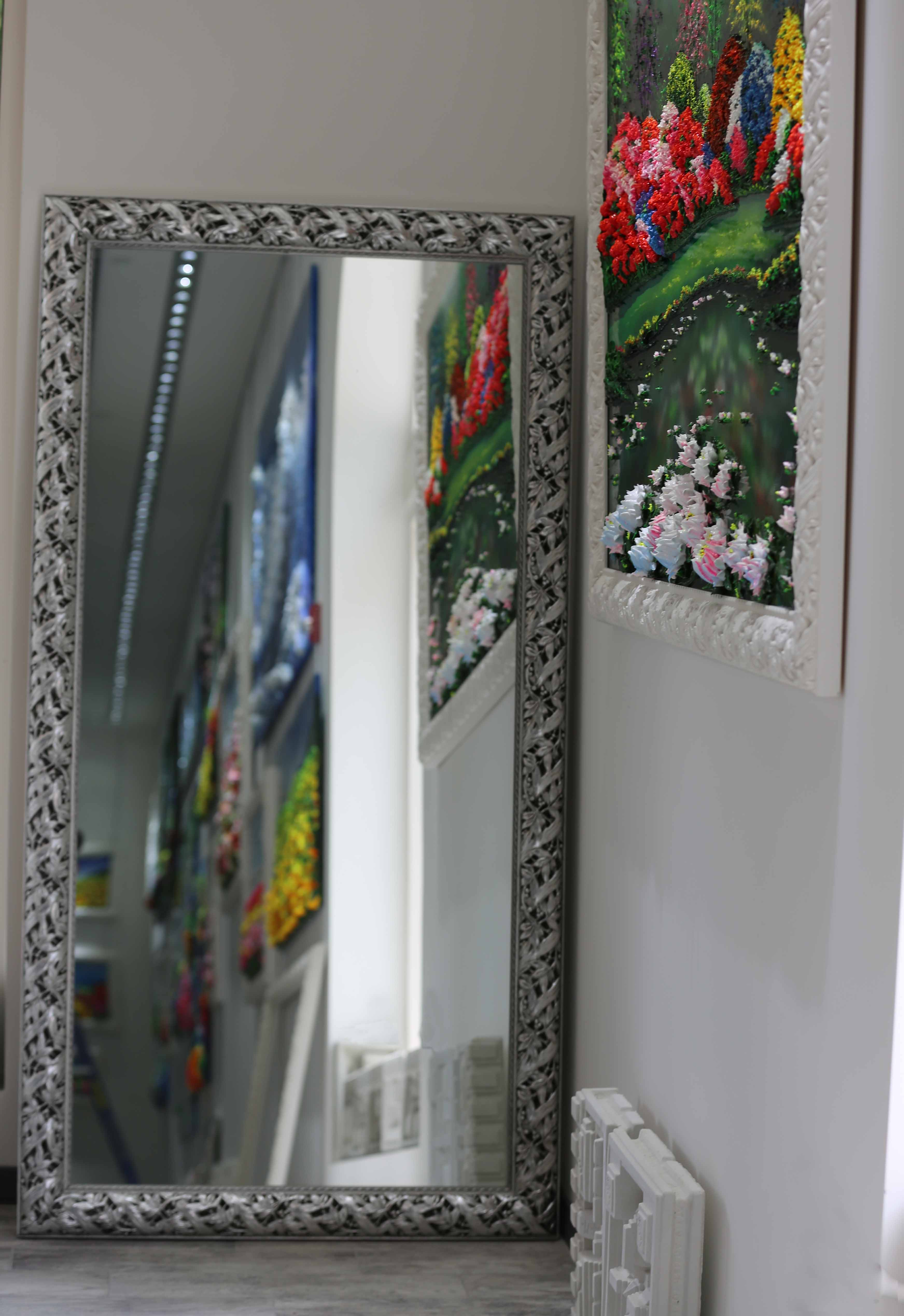 Mirror 39x73 Silver Frame (plaster on wood)