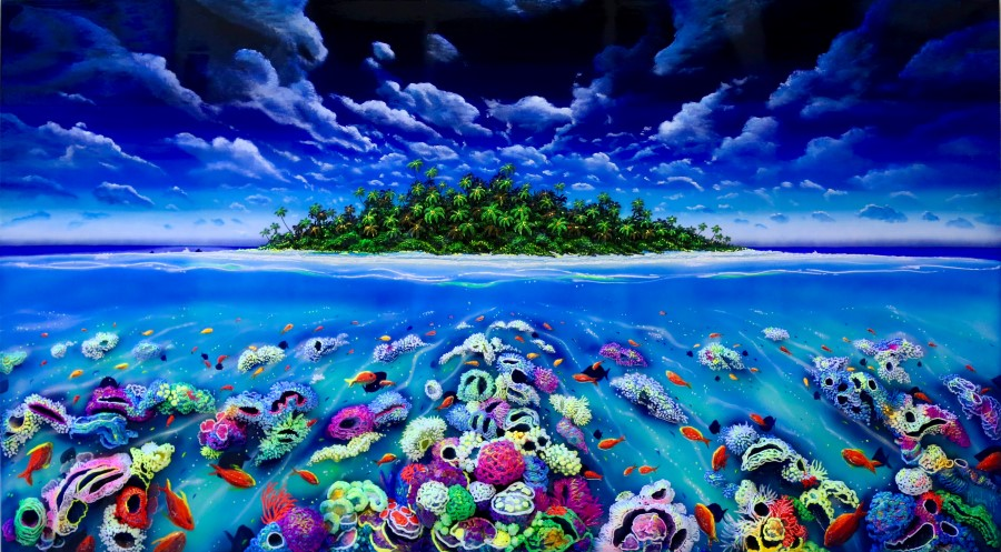 ISLAND WITH FISH AND CORALS